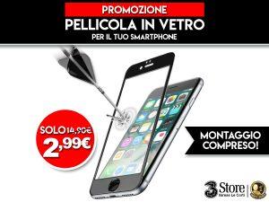 Pellicola in vetro per smartphone a 2,99€ invece di 14,90€, montaggio compreso
