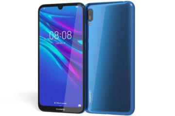 Telefono Huawei Y6 2019 in colore blu fronte e retro